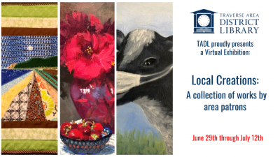 virtual art show banner with three images