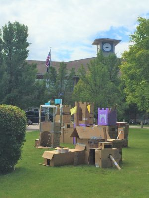library and cardboard castles