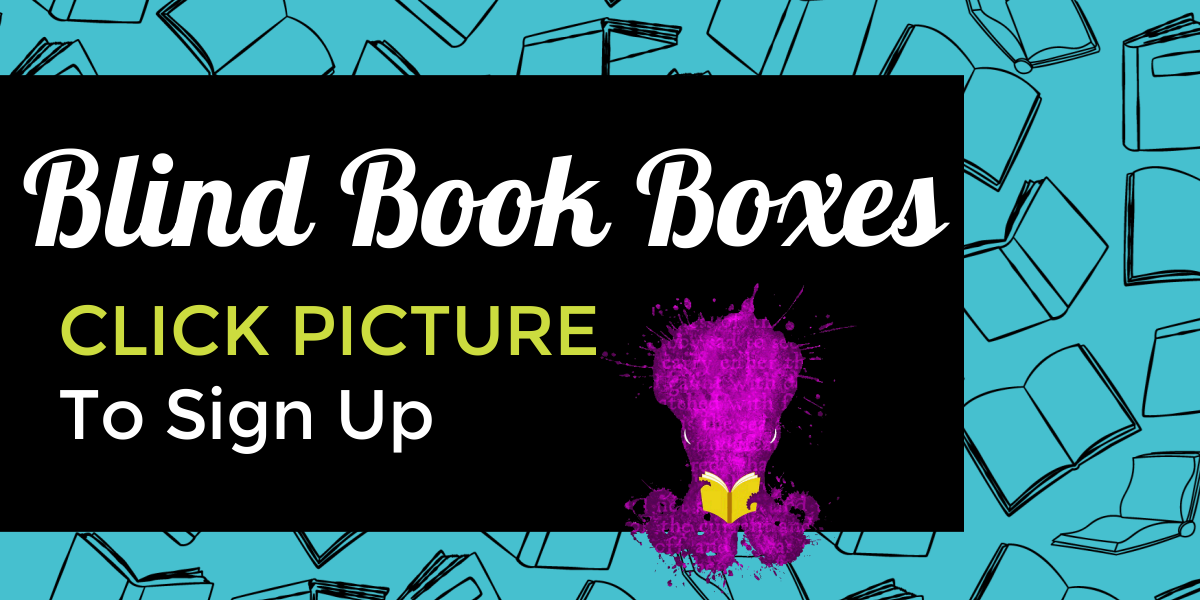 Image includes books and an octopus and links to Blind Book Box sign up form.