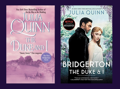 two side by side covers of The Duke and I by Julia Quinn