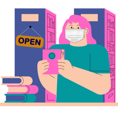 illustration showing a person with pink hair in a teal shirt and white face mask holding up a book next to a stack of books. the library stacks behind them have a sign that says open.